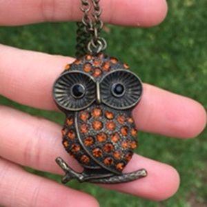 Vintage crystal owl necklace